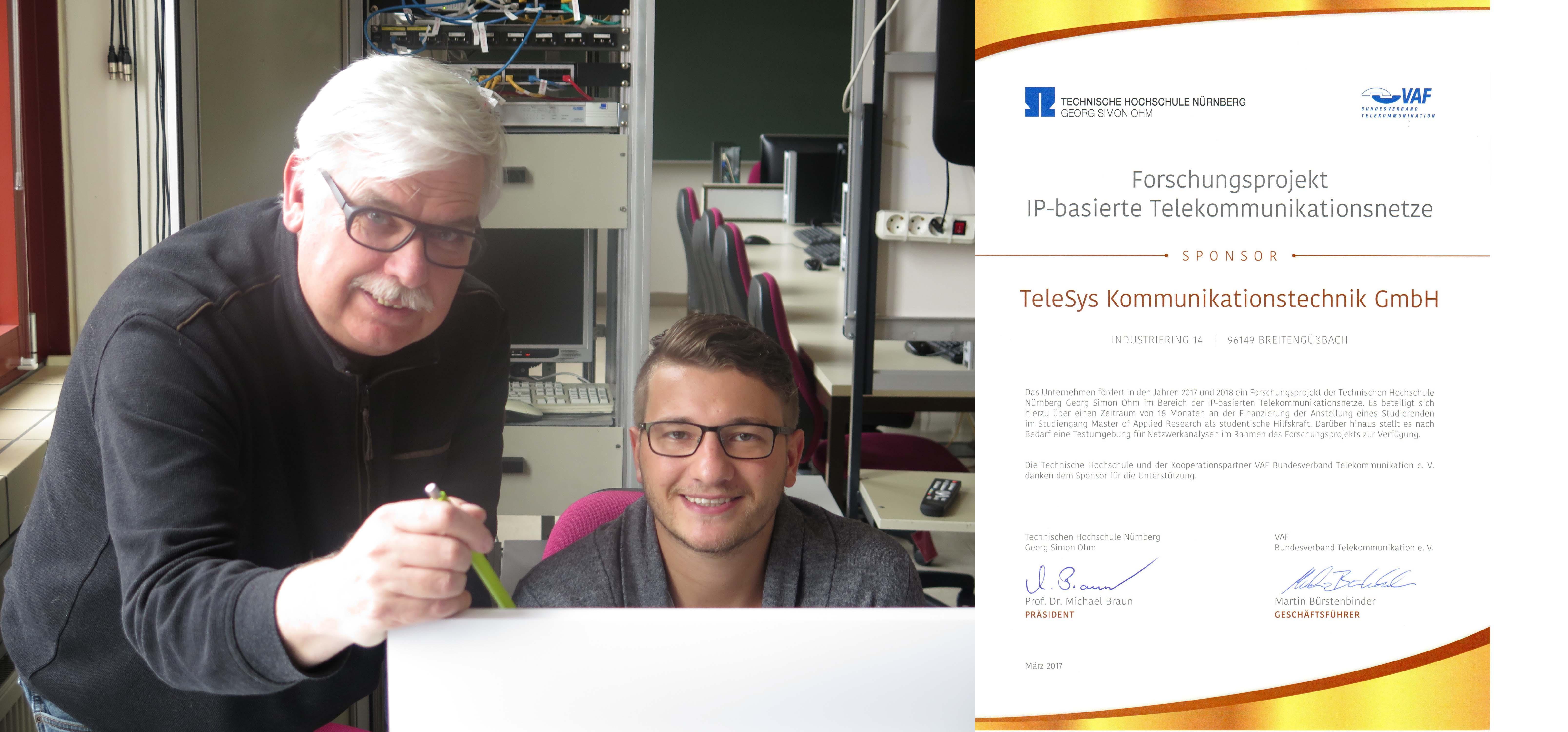 Prof. Dr. Gerd Siegmund und Forschungsmaster-Student Marius Istel im Labor