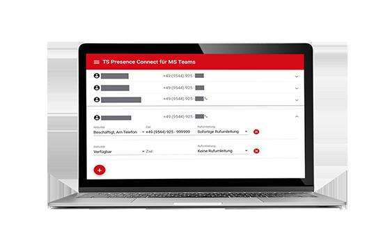 Laptop zeigt Design des TS Presence Connect