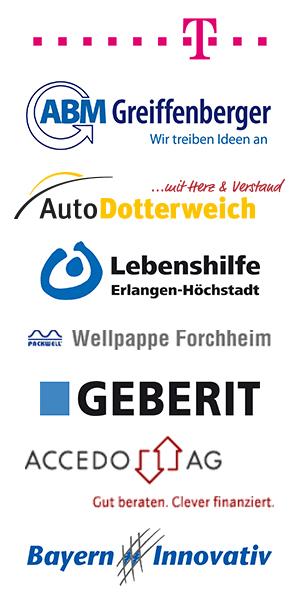 ABM Greiffenberger, Auto Dotterweich, Lebenshilfe Erlangen-Höchstadt, Wellpappe Forchheim, Geberit, Accedo AG, Bayern Innovativ