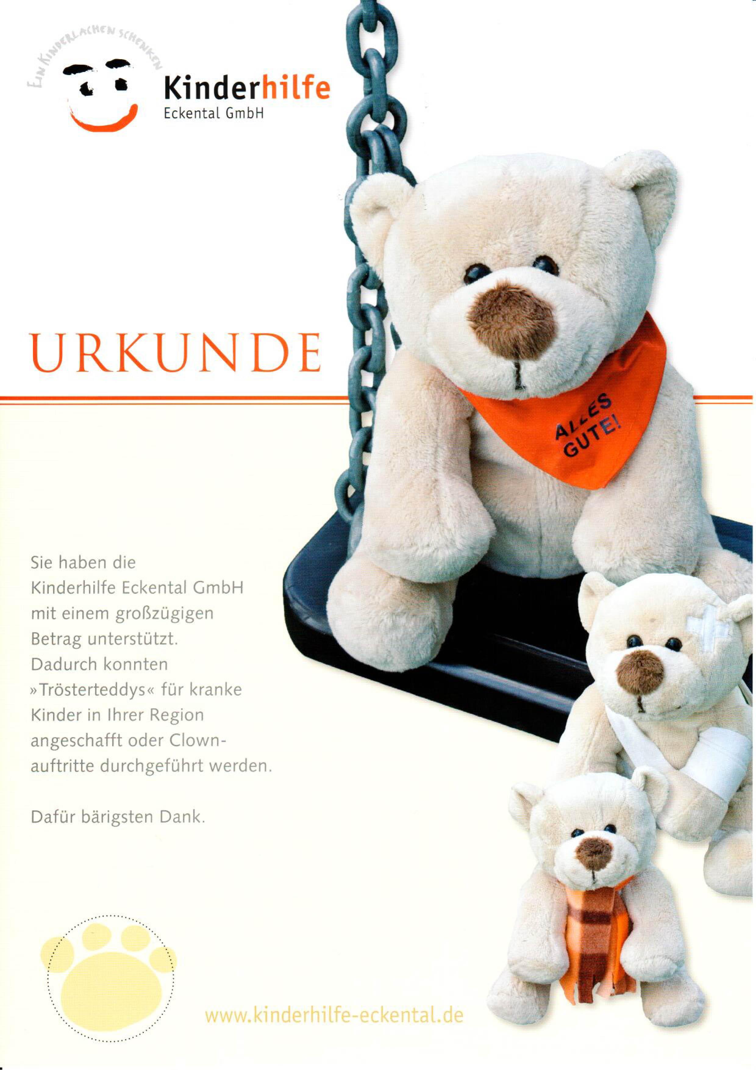 Urkunde Kinderhilfe Eckental GmbH, Trösterteddy